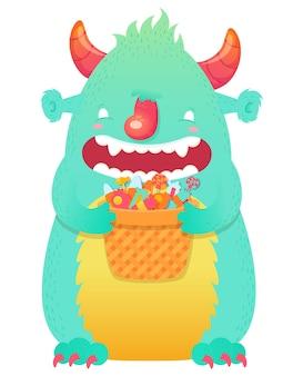 Śmieszne uśmiechnięte halloween puszysty potwór charakter