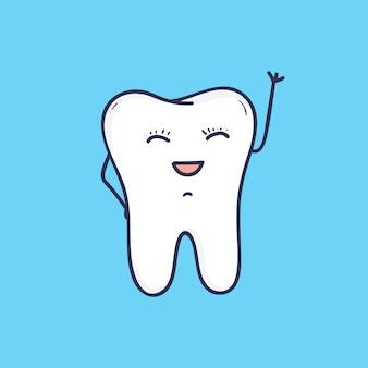 Śmieszne uśmiechnięty ząb macha ręką. piękna radosna maskotka do kliniki dentystycznej lub szpitala. ładny przyjazny postać z kreskówki na białym tle