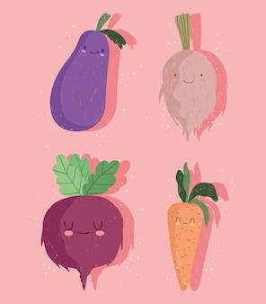 Śmieszne warzywa kreskówka cebula bakłażan zestaw rzodkiewki i marchewki