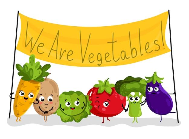 Śmieszne warzywa na białym tle postaci z kreskówek
