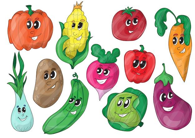 Śmieszne warzywa różnych kreskówek. wektor clipart