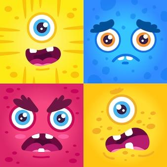 Śmieszne wyrażenia potworów. halloweenowe słodkie stworzenia pysk, przerażająca twarz potwora, maskotki obcych stworzeń tworzą zestaw ilustracji twarzy. potwór twarz ładny, zestaw znaków emocji