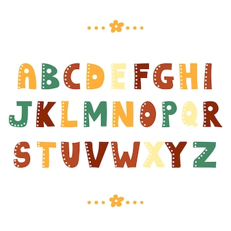 Śmieszne zbiory alfabetu. kolorowe kreatywne projekty abc ręcznie rysowane litery z kreskówek
