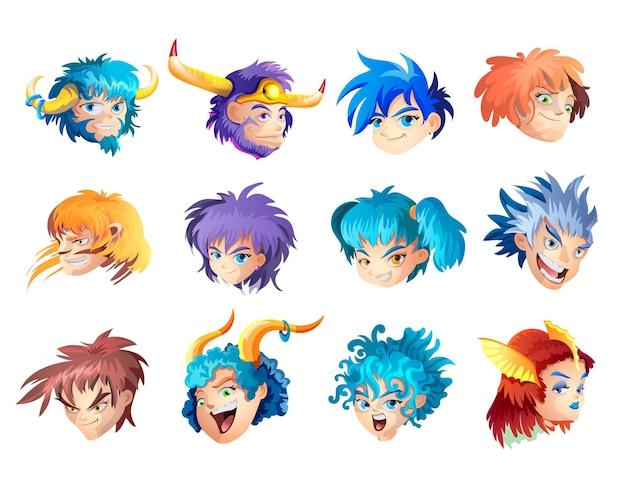 Śmieszne znaki zodiaku. zestaw. wszystkie znaki zodiaku na białym tle. zodiakalne słodkie zabawne postacie z kreskówek.