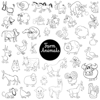 Śmieszne zwierzęta gospodarskie zestaw znaków kolor książki
