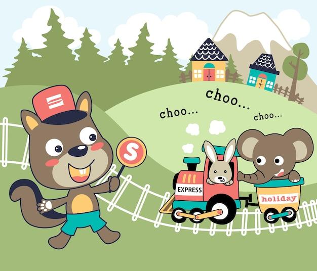 Śmieszne zwierzęta kreskówka wektor z węgla pociągu