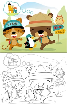 Śmieszne zwierzęta kreskówki chodzą do szkoły