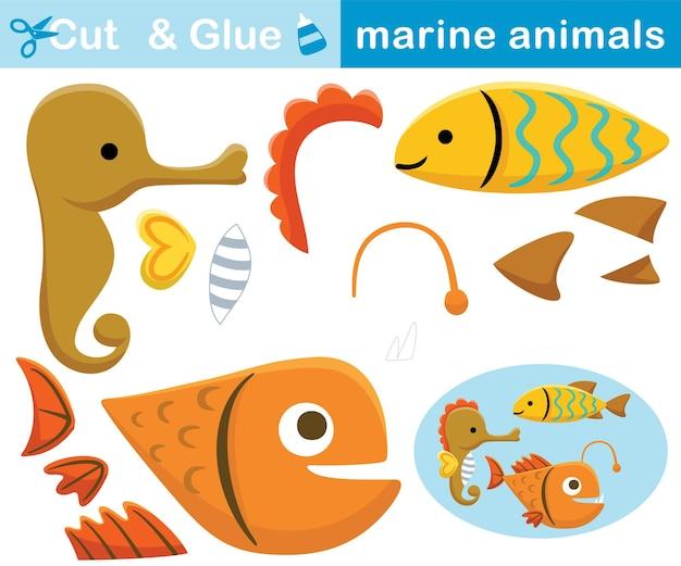 Śmieszne zwierzęta morskie, konik morski, ryba, wędkarz. papierowa gra edukacyjna dla dzieci. wycinanie i klejenie. ilustracja kreskówka