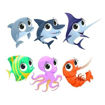 Śmieszne zwierzęta morskie wektor cartoon odizolowane znaków