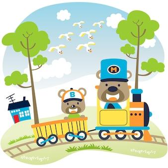 Śmieszne zwierzęta na lokomotywie