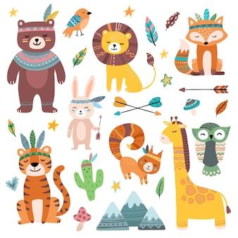 Śmieszne zwierzęta plemienne. leśne dziecko zwierząt, słodkie dzikie lisy leśne i plemiona dżungli zoo na białym tle zestaw postaci z kreskówek