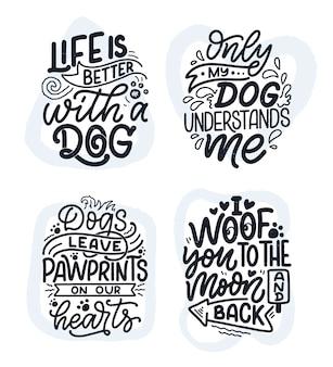 Śmieszne zwroty. ręcznie rysowane inspirujące cytaty o psach