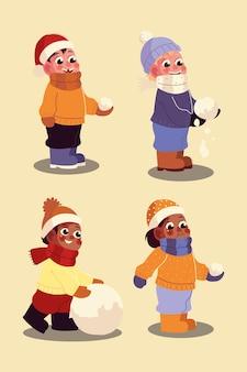 Śmieszni chłopcy bawią się śnieżkami w ilustracji wektorowych zimą