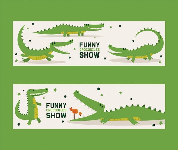 Śmieszni krokodyle pokazują set sztandaru wektoru ilustracja. ptak stojący w pysku aligatora. zwierzę w różnych pozach i czynnościach, siedzące
