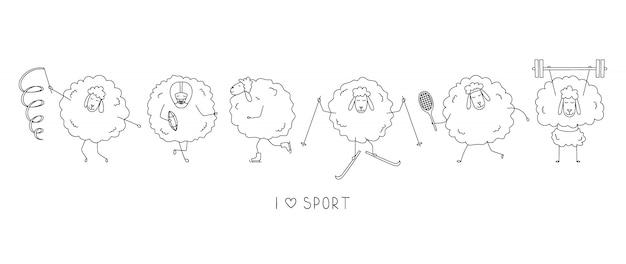 Śmieszni sportowcy owiec. ikony sportowe kreskówka.