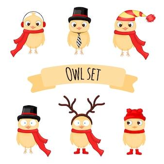 Śmieszni żółci kurczaki w różnych ubraniach, ilustracja