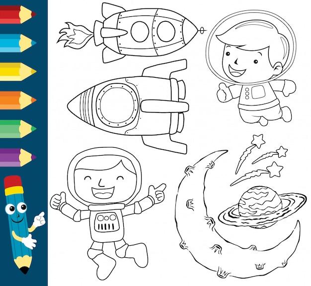 Śmieszny astronauta ze statkiem kosmicznym i planetami