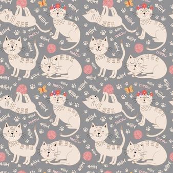 Śmieszny bezszwowy wzór z ślicznymi kotami.