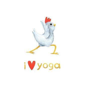 Śmieszny biały kurczak w pozach jogi.