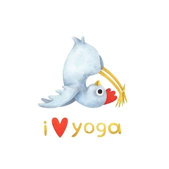 """Śmieszny biały kurczak w pozie jogi. ilustracje z tekstem """"kocham jogę""""."""