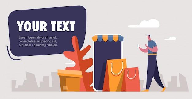 Śmieszny biznesmen z torba na zakupy. współczesna ilustracja