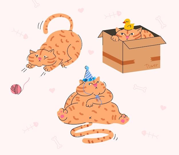 Śmieszny czerwony gruby kot wektor ręcznie rysowane ilustracja z różnymi pozami ładny kot