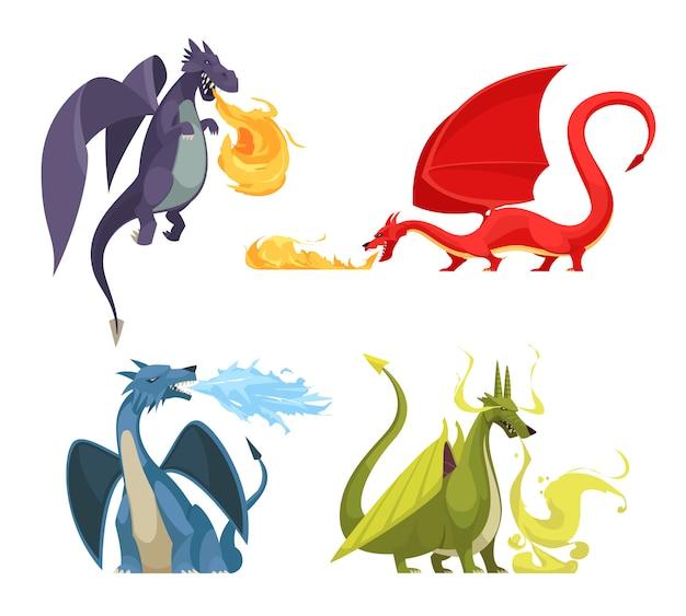 Śmieszny kolorowy pożarniczy oddychający smoków 4 ikon pojęcie z purpurową czerwieni zieleni błękitną potwór kreskówką