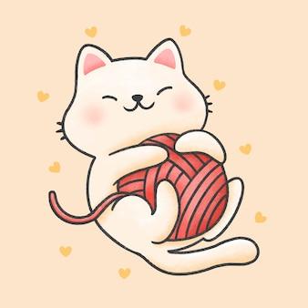 Śmieszny kot bawić się z przędzy kreskówki ręka rysującym stylem