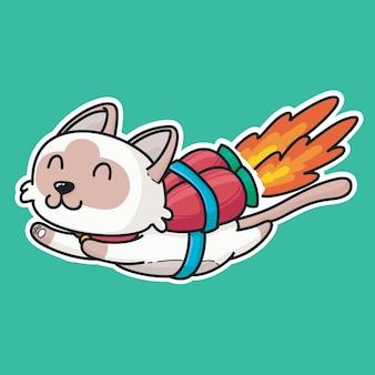 Śmieszny kot leci z rakietą astronautów. charakter maskotka ręcznie rysowane kreskówka kolorowanie stylu