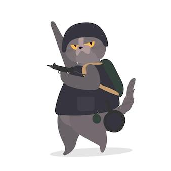 Śmieszny kot o poważnym wyglądzie trzyma broń w łapach.