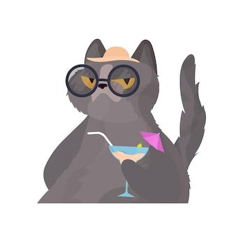Śmieszny kot przy koktajlu. kot w okularach i kapeluszu. dobry na naklejki, karty i koszulki. odosobniony. wektor.