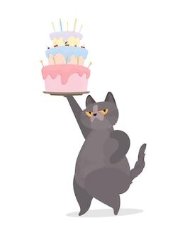 Śmieszny kot trzyma świąteczną babeczkę. słodycze ze śmietaną, babeczka, świąteczny deser, wyroby cukiernicze. dobry na karty, koszulki i naklejki. płaski styl. wektor.