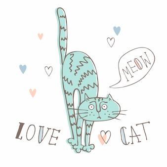 Śmieszny kot w słodkim stylu. w stylu kreskówki.