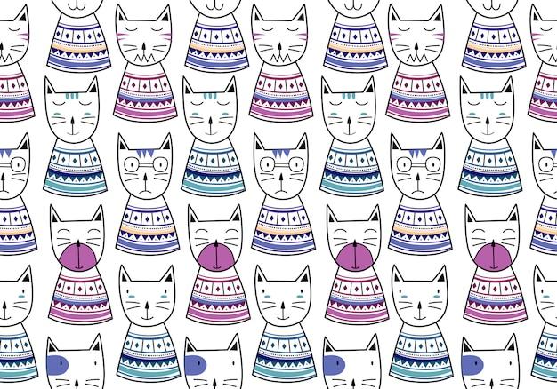 Śmieszny kot wzór z ręcznie rysowane dziecinna styl