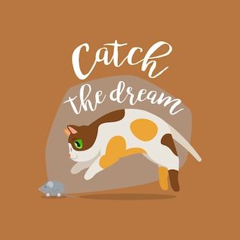 Śmieszny kot z ikona cytat