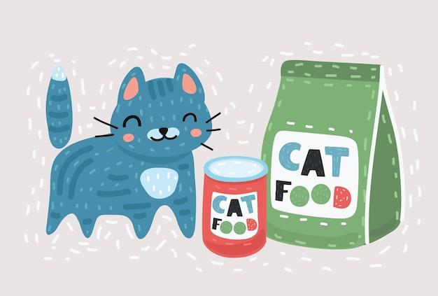 Śmieszny kot z jedzeniem