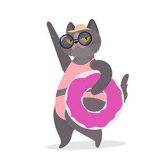 Śmieszny kot z różowym gumowym pierścieniem. kot w okularach i kapeluszu. dobry na naklejki, karty i koszulki. odosobniony. wektor.