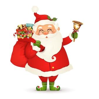 Śmieszny mikołaj w okularach, czerwona torba z prezentami, pudełka na prezenty, jingle bell na białym tle. mikołajki na ferie zimowe i noworoczne. szczęśliwy postać z kreskówki świętego mikołaja.