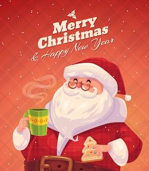 Śmieszny mikołaj z ciastkiem i filiżanką czekolady. boże narodzenie pozdrowienie plakat tło karty. ilustracji wektorowych. wesołych świąt i szczęśliwego nowego roku.