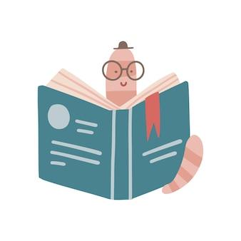Śmieszny mól książkowy w kapeluszu czytający otwartą książkę kreskówka biblioteka robak w okularach na białym tle pła...