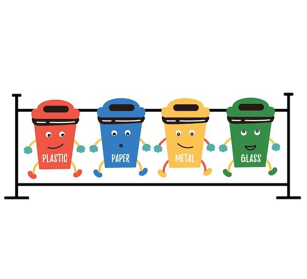 Śmieszny pojemnik na śmieci plastikowy papier metalowy szkło dystrybucja odpadów redukcja odpadów