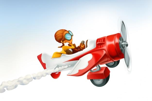 Śmieszny samolot, 3d wektorowa kreskówka odizolowywająca