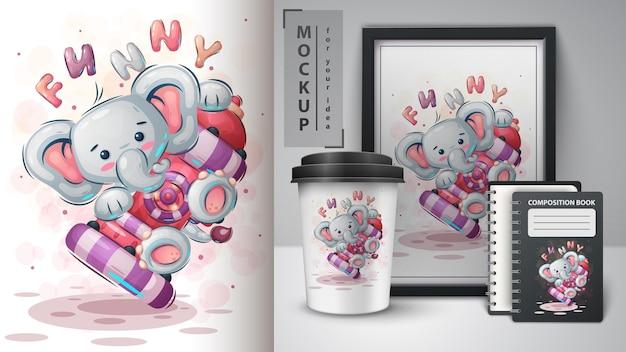 Śmieszny słoń - ilustracja i merchandising