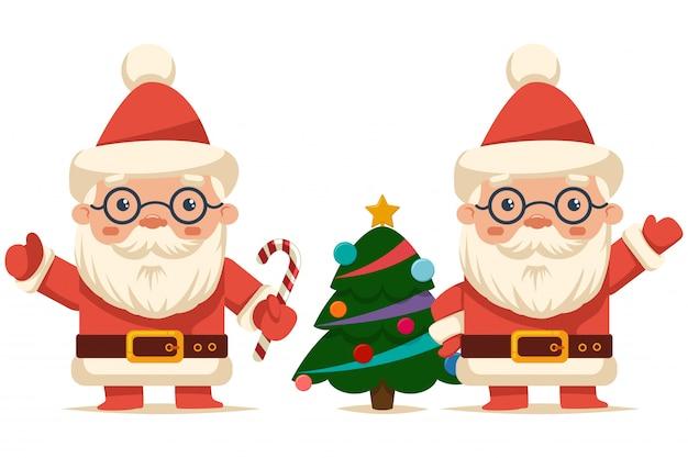 Śmieszny święty mikołaj z cukierek trzciną i choinką. postać z kreskówki wakacje wektor na białym tle