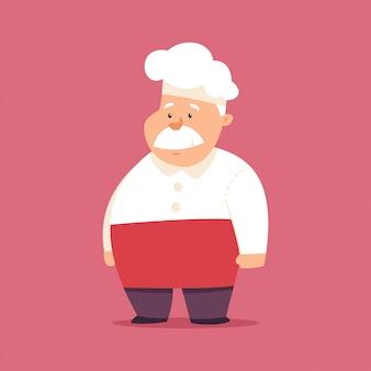 Śmieszny szef kuchni w kapeluszu i mundurze postać z kreskówki. kucbarska ilustracja odizolowywająca na tle.