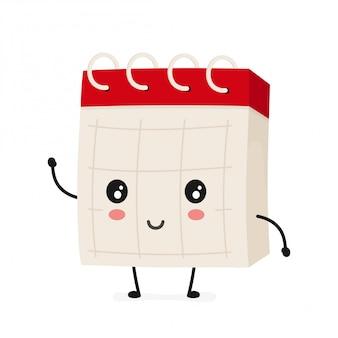 Śmieszny uśmiechnięty szczęśliwy biurko kalendarz