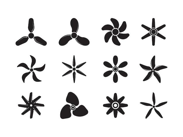Śmigła samolotu. symbole ruchu odrzutowe lotnictwo potężne ikony wentylator koła odznaki kolekcja. ilustracja wentylatora i śmigła, rotacja wiatru