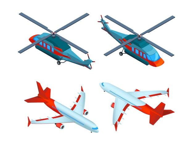 Śmigłowce izometryczne. transport lotniczy 3d. samoloty i śmigłowce