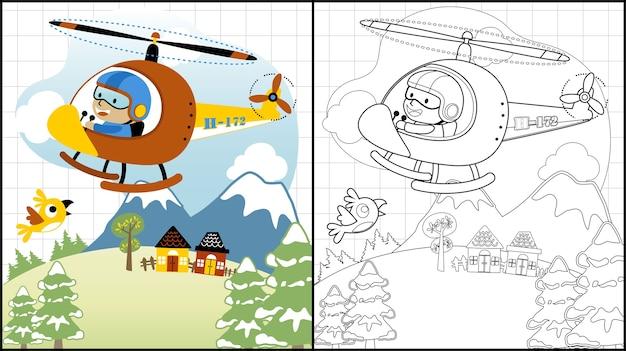 Śmigłowcowa kreskówka z małym pilotem na krajobrazowym tle
