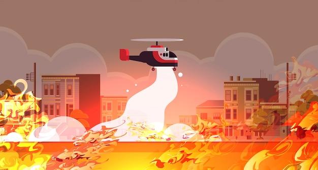 Śmigłowiec gasi niebezpieczny pożar powietrzny gaśniczy katastrofy naturalnej pojęcie intensywny pomarańczowy płomienie miasto ulica pejzaż miejski poziomy